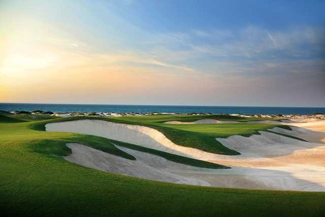 A view of the mousetrap hole 10 at Saadiyat Beach Golf Club