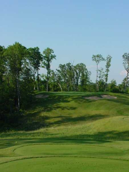 A view of green #12 with bunkers in background at Coyote Preserve Golf Club