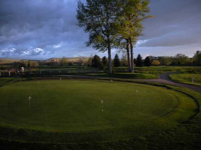 A view of the practice area at Cottonwood Hills Golf Club