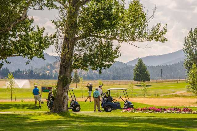 A view of tee #10 at Fairmont Hot Springs Resort