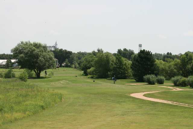 A view of a tee from the Links at Pretty Prairie