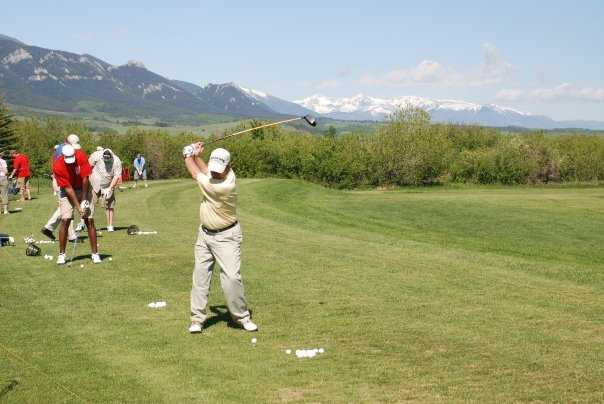 A view of the practice area at Red Lodge Mountain Golf Course