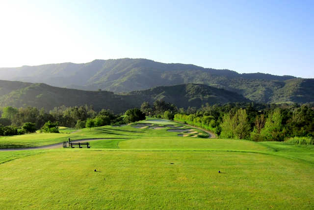 A view of the 16th green with bunkers in background at Ojai Valley Inn & Spa