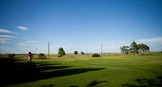 A view of a tee at Sky View Golf Course.