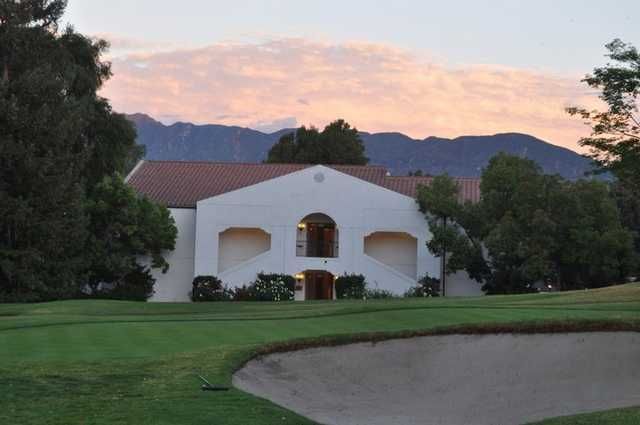 A view from Ojai Valley Inn & Spa with hotel rooms well placed to offer a scenic view of the golf course in background