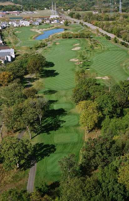 Aerial view of green #11 through #14 at Foxford Hills Golf Club
