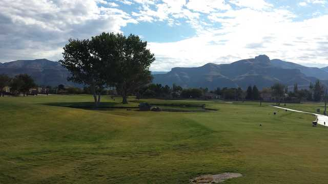 A view from a tee at Desert Lakes Golf Course