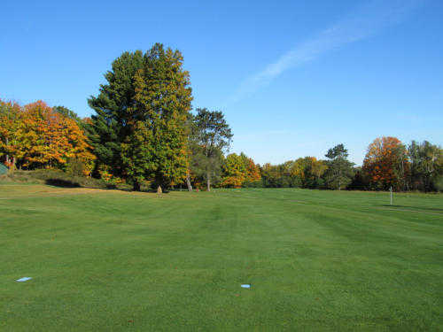 A fall view from a tee at Crystal View Golf Course