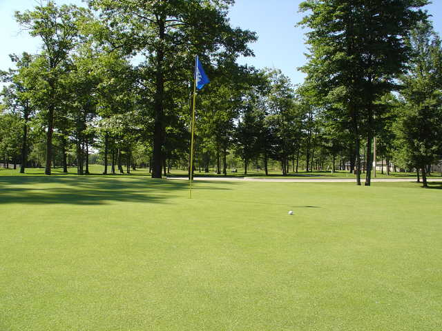 A view of a green at Irish Oaks Golf Course