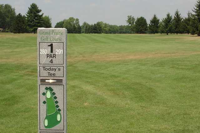 A view from tee #1 sign at Grand Prairie Golf Course