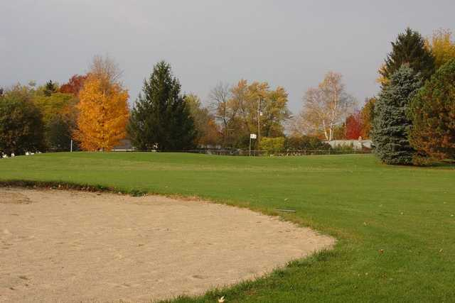 A fall view of a hole at Grand Prairie Golf Course