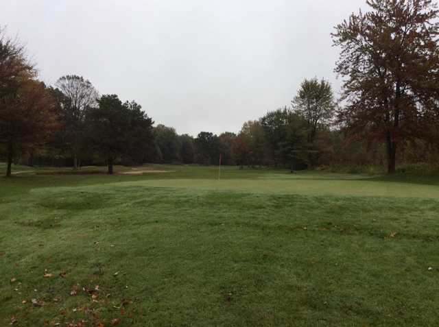 A fall view of a green at Mueller's Valley View Farm Golf Course