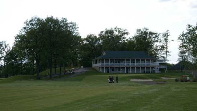 A view of the 9th green and the clubhouse at Wolverine from Bedford Hills Golf Club