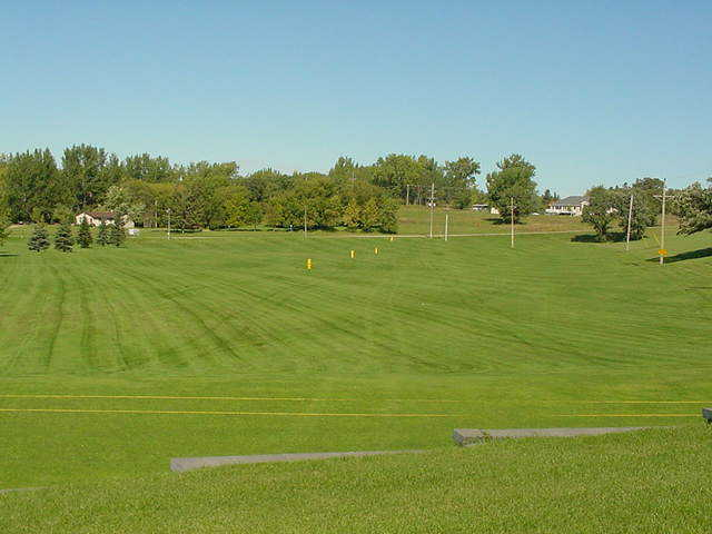 A view of the driving range at Sandhill River Golf Club