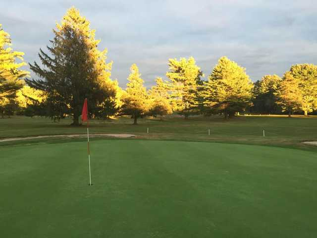 A view of a green at Coventry Pines Golf Course
