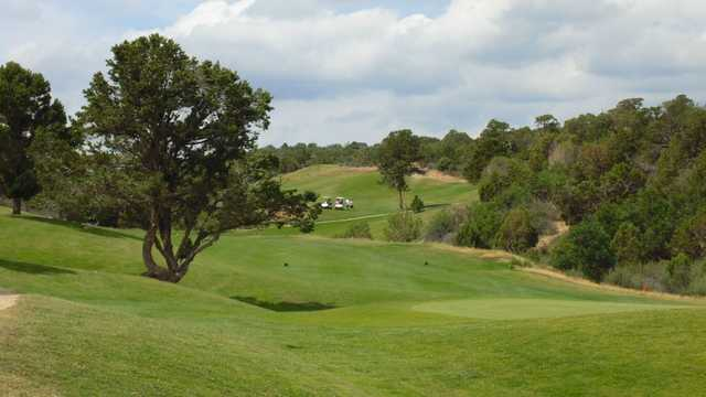 A view of green and fairway #13 at The Hideout Golf Club.