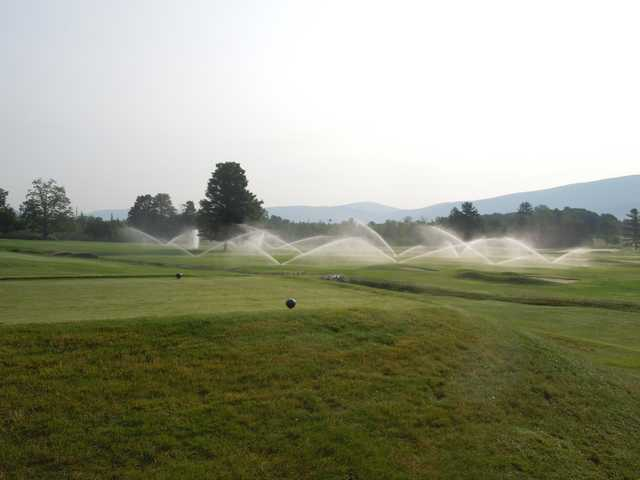 An early morning view of a tee at Ekwanok Country Club