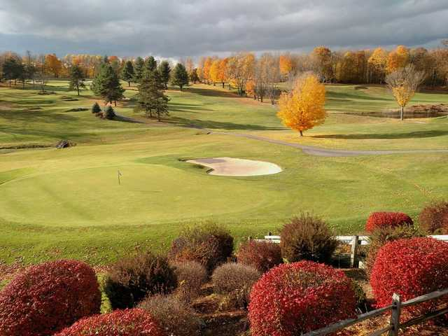 A fall view of a green at Crown Point Country Club