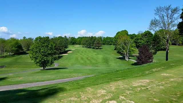 A view of a fairway at Crown Point Country Club