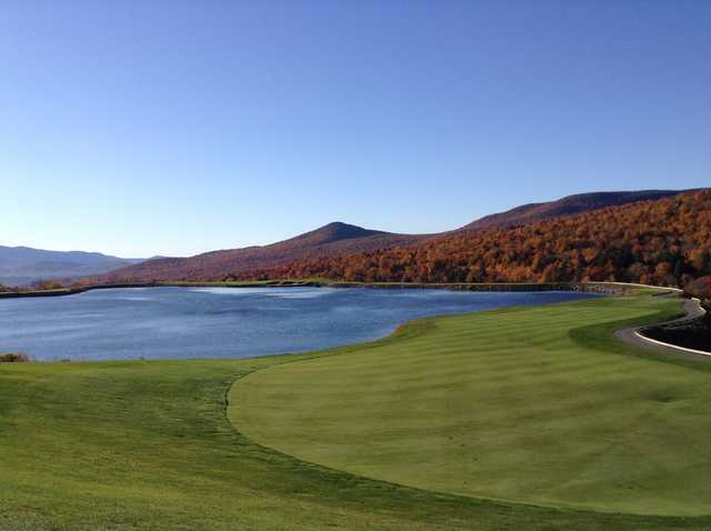 A fall view of a fairway from The Mountain Course at Spruce Peak