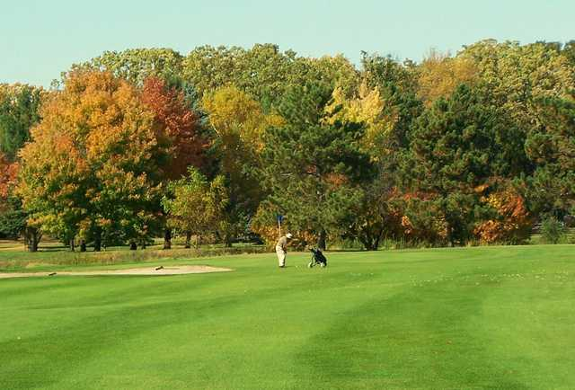 A fall view of a green at North Branch Golf Course