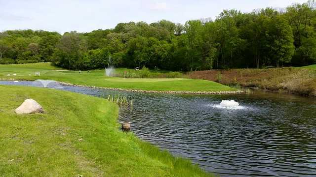 A view of a green with water coming into play at Redwood Falls Golf Club