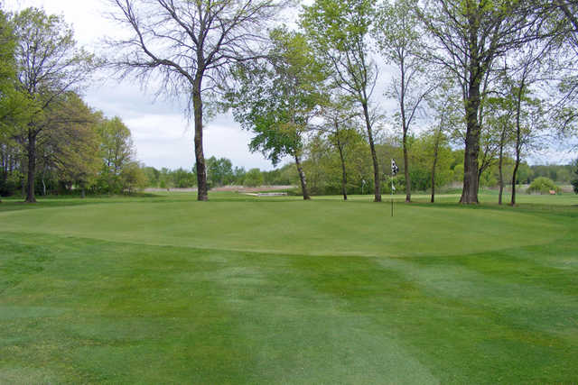 A view of green #15 at Regulation Eighteen from Falcon Ridge Golf Course