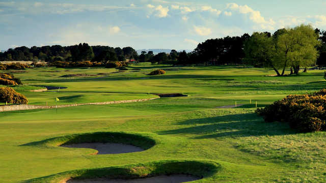 A view of green #1 at Burnside Course from Carnoustie Golf Links