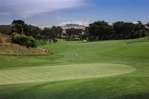 A view of the 15th green from Ocean at Olympic Club