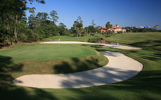A view of the 3rd green at THE PLAYERS Stadium Course from TPC Sawgrass