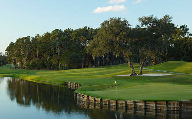 A view hole #16 at THE PLAYERS Stadium Course from TPC Sawgrass