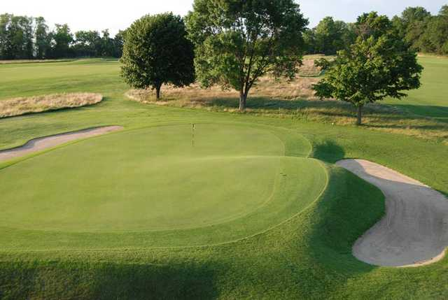 A view of the 12th green protected by bunkers at Links from Lawsonia Golf Course