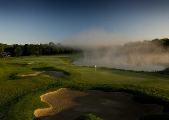 A view of the 18th green at Arthur Hills from Boyne Highlands Resort & Country Club