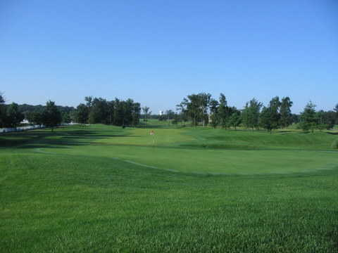 A view of a hole at Crown Pointe Golf Club