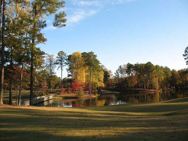 A view of the 18th hole at Cypress Landing Golf Club