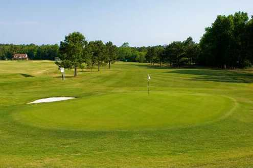 A view of green #1 at Methodist College Golf Club