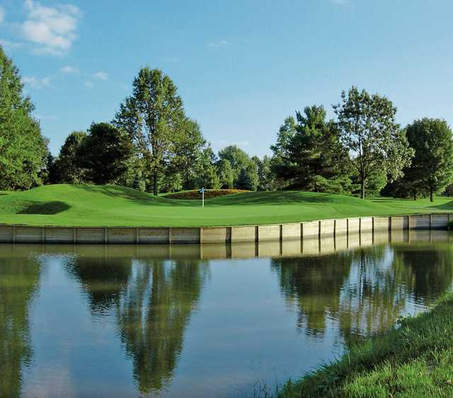 A view over the water of a hole at Wilkshire Golf Course