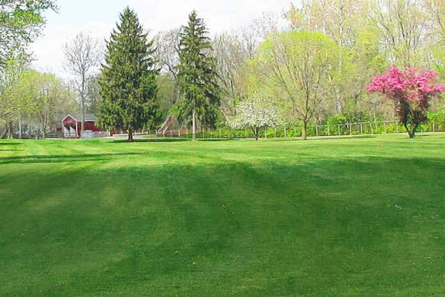 A spring day view of a fairway at Eaton Country Club