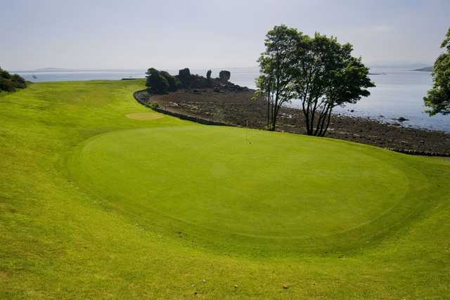 Looking down onto the 2nd green at Aberdour