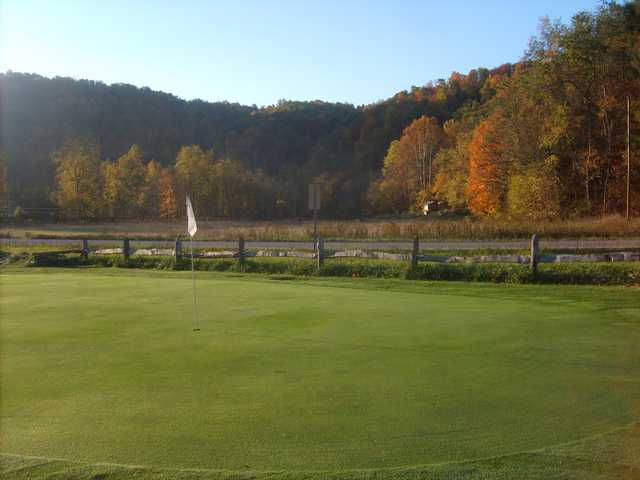 A fall day view of hole #15 at Horseshoe Bend Golf Course
