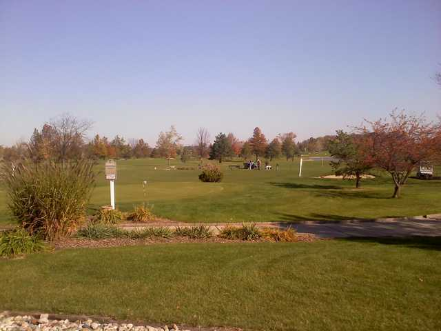 A view of the driving range at Moose Landing Country Club