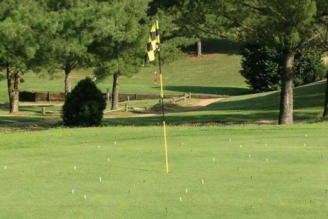A sunny day view of a hole at Meigs County Golf Course