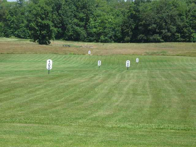 A view of the driving range at Pine Meadows Golf Course
