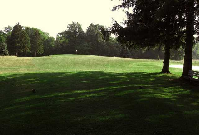 A view from a tee at Pine Meadows Golf Course