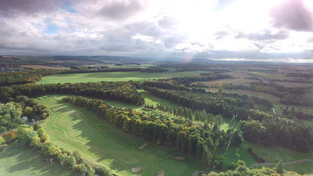 Aerial view of #15, #14 & #13 at Musselburgh Golf Club