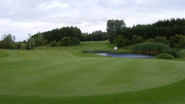 A view of a hole with water coming into play at Pumpherston Golf Club.