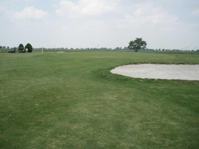 A view of green #1 at Hidden Hills Golf Club