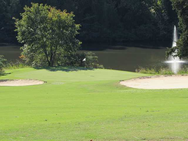 View of a green and bunkers at Oconee Country Club