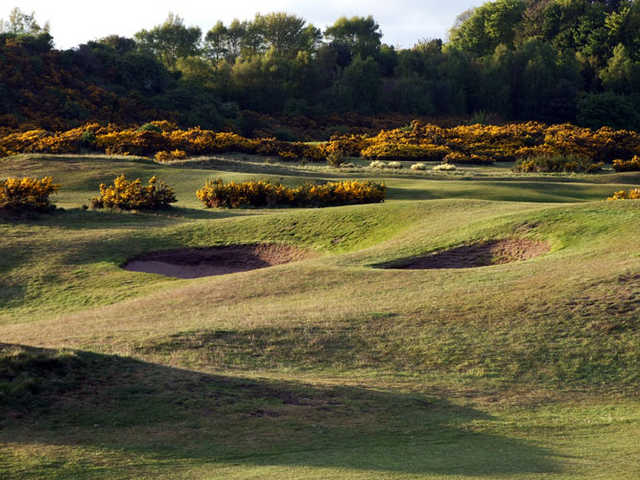A view of the bunkers at Leven Links Golf Course