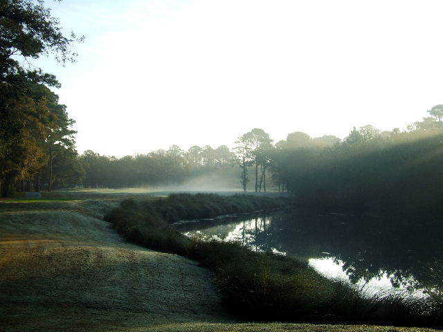 A foggy view of a green at Palmetto Hall Plantation